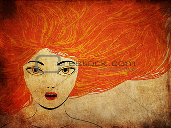 Grunge girl with red hair