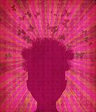 Grunge head silhouette