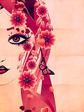 Grunge pink floral girl