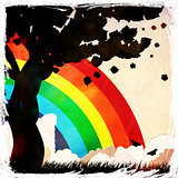 Grunge tree silhouette and rainbow