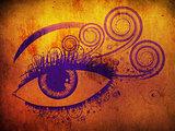 Grunge violet eye
