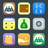 Flat icons, monetary topics for web