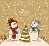 Loving couple of snowmen with gifts beside christmas tree.Greeting card