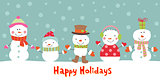 Greeting card with snowman, vector illustration