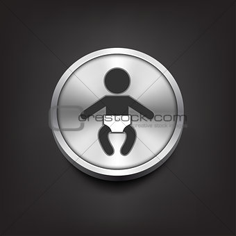 Baby icon on silver button