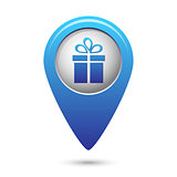 Map pointer with present icon