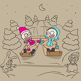 Lovers girl and boy on a sled