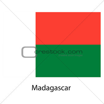 Flag  of the country  madagascar. Vector illustration.