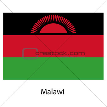 Flag  of the country malawi. Vector illustration.