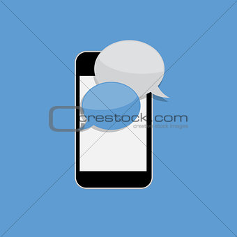 Abstract Design Flat Mobile Phone with Speech Bubbles. Vector