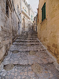 particular of old town of Matera in the morning