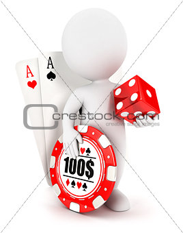 3d white people casino accessories