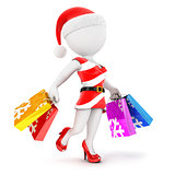 3d white people woman christmas shopping