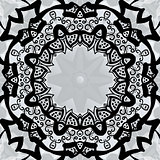 Black stylized frame over symmetry gray wallpaper.