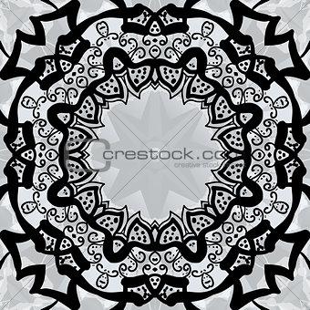 Black stylized frame over symmetry gray wallpaper.