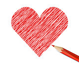 Red heart drawn with pencil