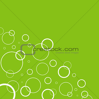 Abstract background with white circles on green