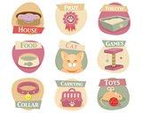 Cat life flat icons