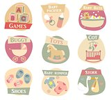 Baby life flat icons