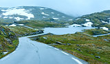 Summer mountain with lake and road (Norway)