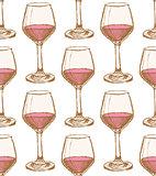 Sketch vine glass in vintage style
