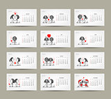 Calendar grid 2015 design. Couple in love together