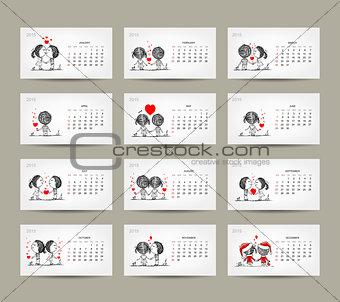 Calendar grid 2015 design. Couple in love together
