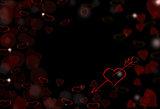 St.Valentine dark red background with hearts