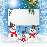 Three snowmen keep white board.