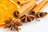 anise stars and cassia cinnamon with dried orange rings