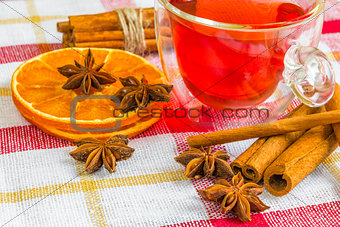 anise stars, cassia cinnamon sticks, dried orange rings and frui