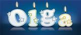 OLGA written with burning candles