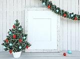 Christmas Tree Decorationon with empty frame