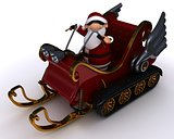 santa in a snowmobile sleigh