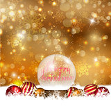 Snow globe on a Christmas background