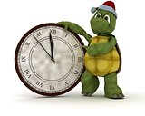 tortoise with a clock at new years
