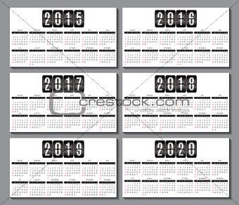 calendar grid 2015, 2016... 2020  for business card