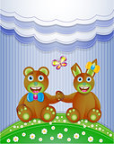 Colorful scrapbook with bunny and bear.