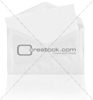 Blank envelope with reflection