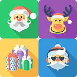 Christmas set icon flat design