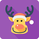 Santa's reindeer Face icon flat design