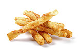 salted cheese stick snacks isolated on white