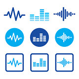 Sound wave music vector blue icons set