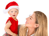 Happy mother with Santa girl
