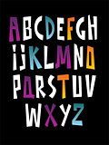 Bright cartoon comic graffiti doodle font alphabet. Vector