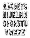 Hand written font type alphabet. Vector