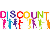Children holding the word Discount