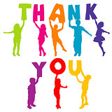 Children silhouettes holding letters with THANK YOU