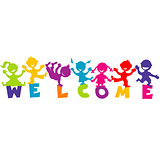 Illustration with word WELCOME and happy children