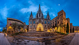 Panorama of Cathedral of the Holy Cross and Saint Eulalia in the